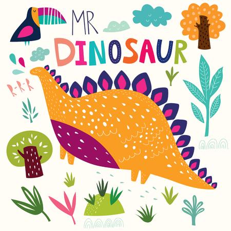 Funny illustration with cute dinosaur. Illustration