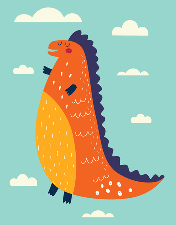 Funny dinosaur against sky and clouds