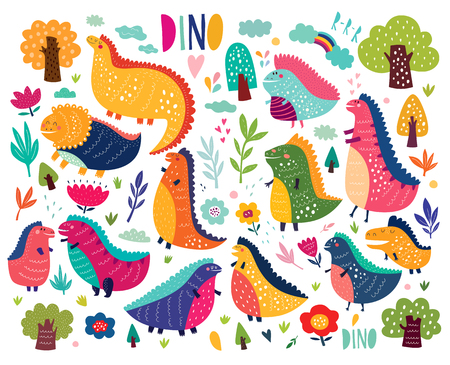 Funny poster with dinosaurs and trees on white background Illustration