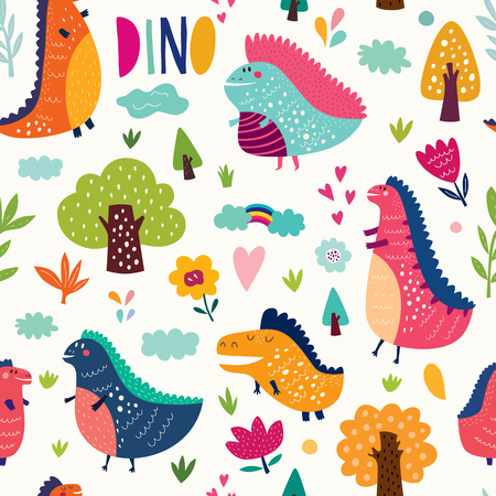 Seamless pattern with cute funny dinosaurs, trees, hearts, flowers and leaves.