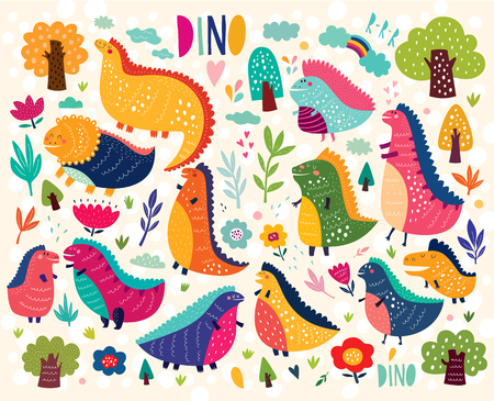 Funny poster with dinosaurs and trees Illustration