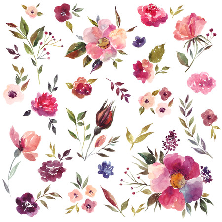 mariage: Set of watercolor illustration with amazing flowers and leaves Stock Photo