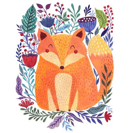 Waterverf illustratie met schattige vos met bloemen achtergrond Stockfoto