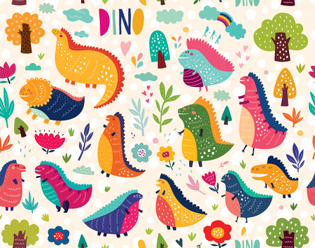 Seamless baby pattern with dinosaurs Stock Photo