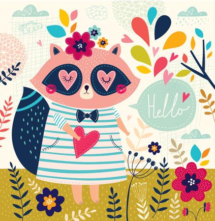 Vector illustration with cute raccoon in cartoon style. Hello card