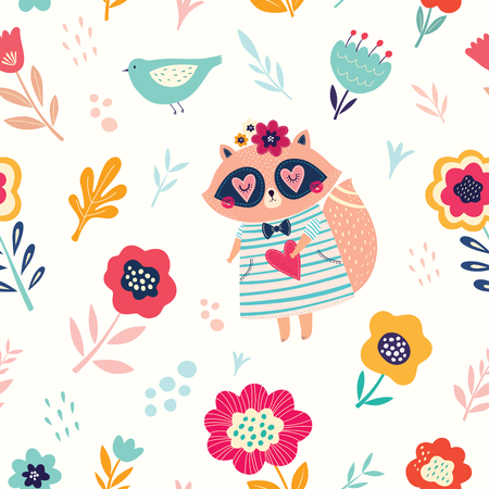 Vector Seamless pattern with cute raccoon and flowers