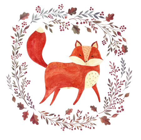 Watercolor artwork with cute fox and floral elements and wreath Reklamní fotografie