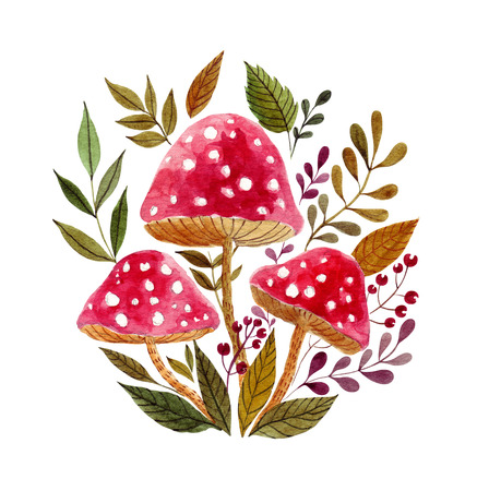 Watercolor red mushrooms