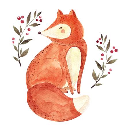 Waterverf kunstwerk met schattige vos en bloemen elementen