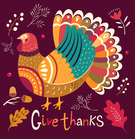 Thanksgiving  card design template.