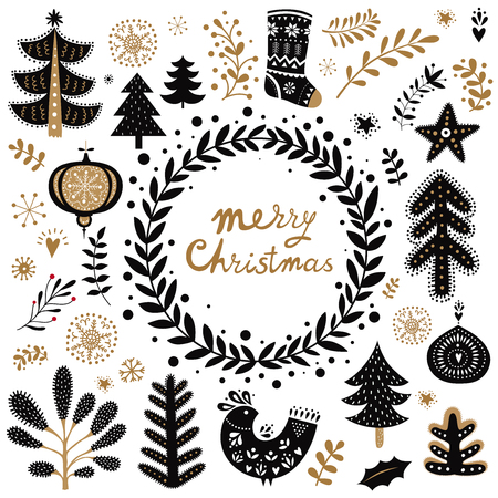 Christmas vector collection with Christmas symbols and elements Stock fotó - 90921887