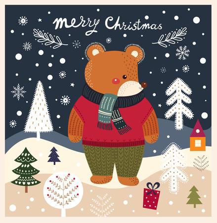 Christmas vector card with bear Illustration
