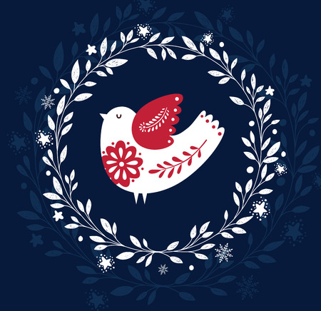 Christmas illustration with bird Vectores