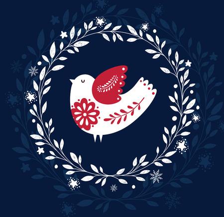 Christmas illustration with bird Illustration