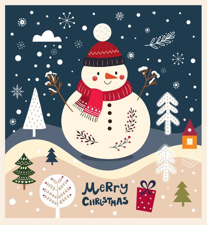 Christmas vector illustration with cute snowman