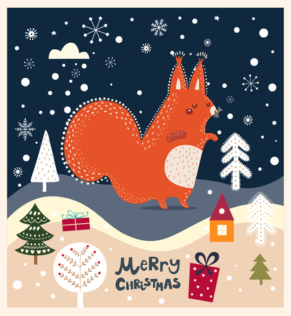 Christmas vector illustration with squirrel Illustration