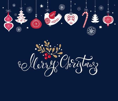 Kerstmisillustratie met traditionele Kerstmissymbolen