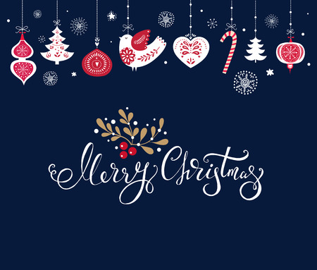 Christmas illustration with traditional Christmas symbols