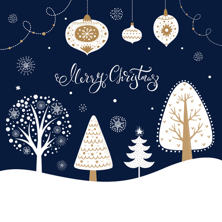 Christmas illustration with trees, fir tree, snowflakes and toys