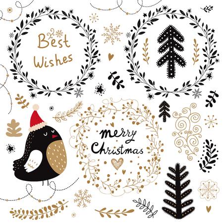 Kerst vector collectie met kerst symbolen en elementen