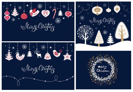 クリスマスのバナーとカードのセット  イラスト・ベクター素材