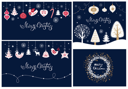 Set of Christmas banners and cards
