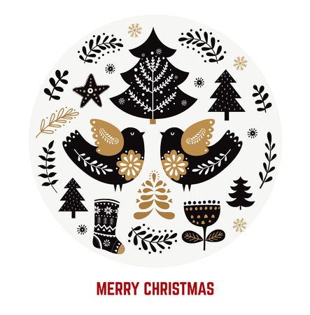 Christmas illustration with traditional symbols in Scandinavian style Illustration