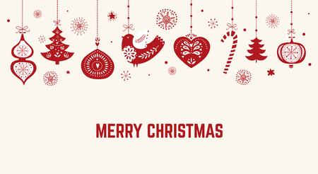 スカンジナビアスタイルの伝統的なシンボルを使用したクリスマスイラスト  イラスト・ベクター素材