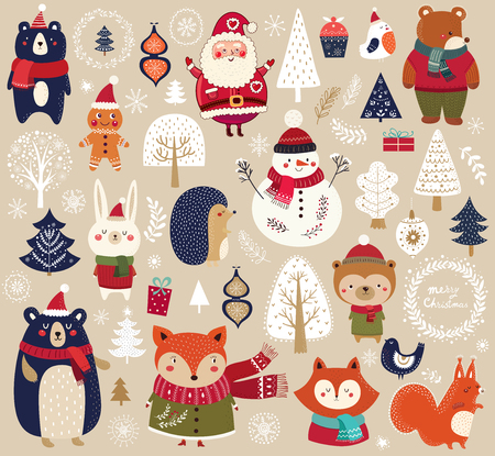 Christmas collection with cute animals, Santa Claus, Snowman and decorative elements. Vectores