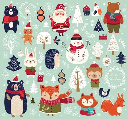 Collezione natalizia con simpatici animali, Babbo Natale, pupazzo di neve ed elementi decorativi.