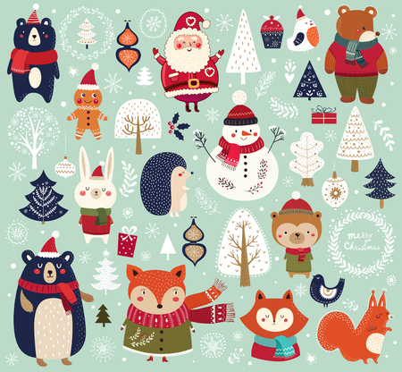 Christmas collection with cute animals, Santa Claus, Snowman and decorative elements. Stock Illustratie