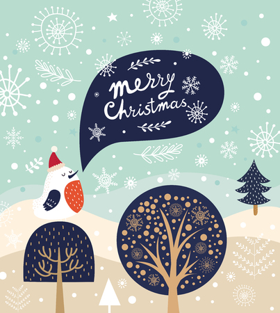 Christmas illustration with bird and trees in cartoon style.