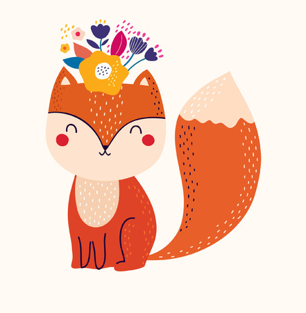 Vector illustration with cute fox