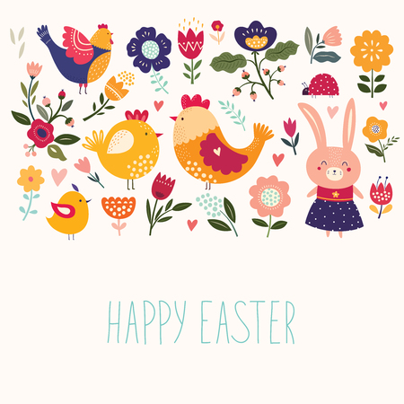 Happy Easter greeting card with colorful chicken and bunny. Illustration