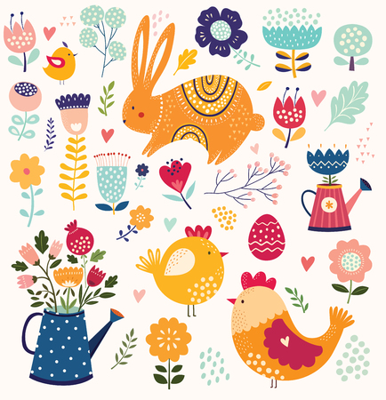Collection of spring Easter elements with Rabbit, chic and flowers. Stock Illustratie