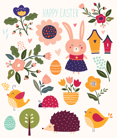Collection of florals and Easter elements. Rabbit, chicks, hedgehog and flowers.