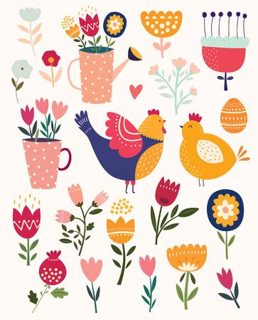 Colección de primavera símbolos de Pascua con flores, pollo y huevos. Ilustración de vector