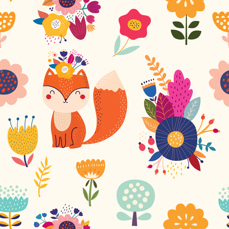 Vector seamless pattern with fox and flowers.