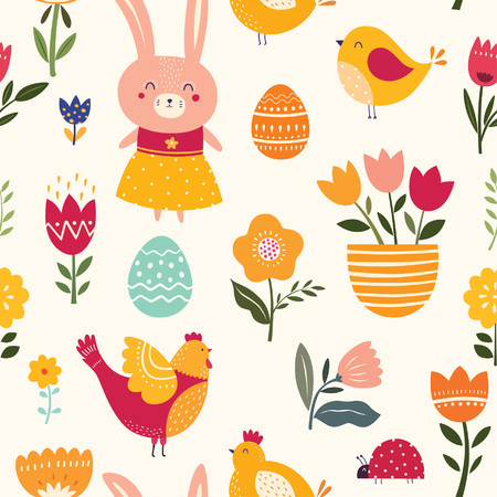 Seamless pattern with cute bunny, chicken and flowers
