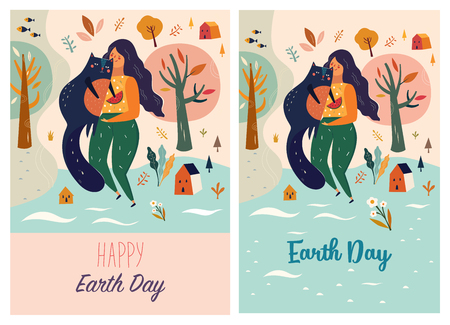 Happy Earth Day Vector template with woman and cat isolated on plain background Illustration