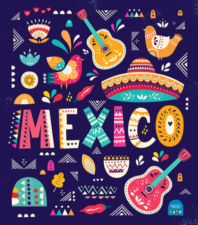 Beautiful vector illustration with design for Mexican holiday 5 may Cinco De Mayo Banco de Imagens - 97577392