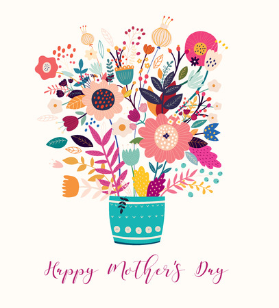 Happy Mothers Day. Vector template for greeting cards, posters and other