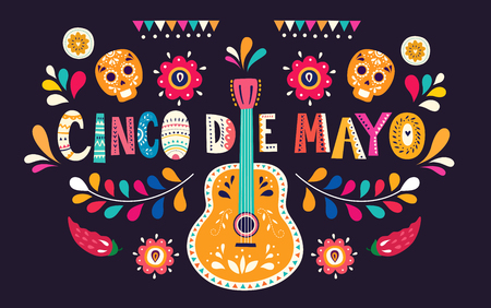 Beautiful vector illustration with design for Mexican holiday 5 may Cinco De Mayo Illusztráció