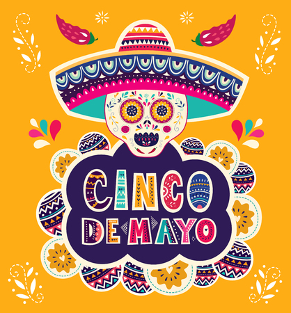 Beautiful vector illustration with design for Mexican holiday 5 may Cinco De Mayo  イラスト・ベクター素材