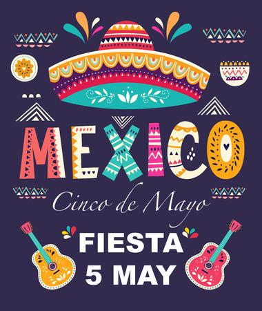 与设计的美好的传染媒介例证为墨西哥假日5月5月Cinco de Mayo