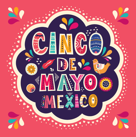 Beautiful vector illustration with design for Mexican holiday 5 may Cinco De Mayo Vettoriali