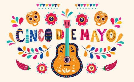 Beautiful vector illustration with design for Mexican holiday 5 may Cinco De Mayo Çizim