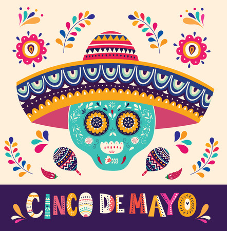 Beautiful vector illustration with design for Mexican holiday 5 may Cinco De Mayo Иллюстрация