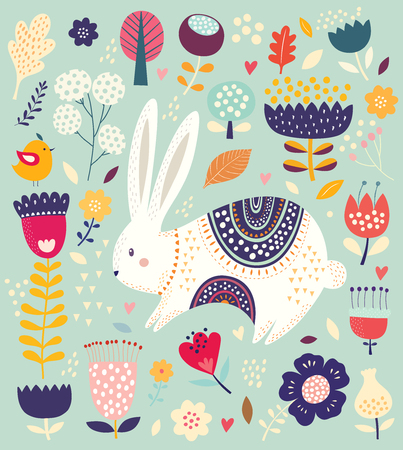 Vector illustration with cute bunny and beautiful flowers. Foto de archivo - 101802024