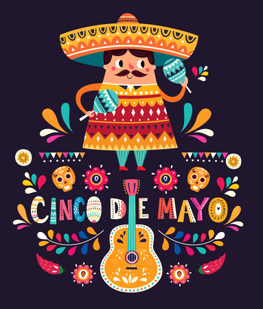 Cute Mexican man with maracas and Mexican guitars Illustration